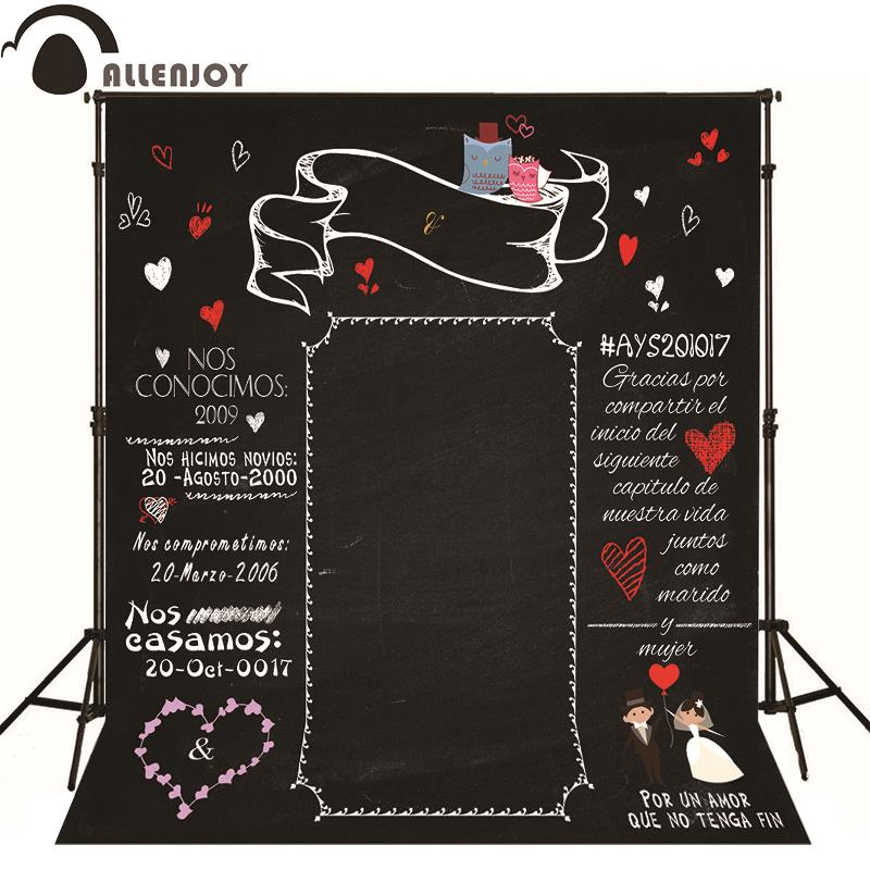 Allenjoy Photographic background Blackboard heart romantic wedding original design vinyl custom photography backdrops 8x8ft