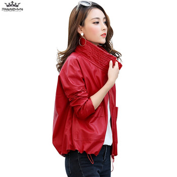 tnlnzhyn 2019 Spring Autumn Women Leather Jacket Soft Zippers Short Faux Leather Jacket Loose Motorcycle Outerwear Coat Y970