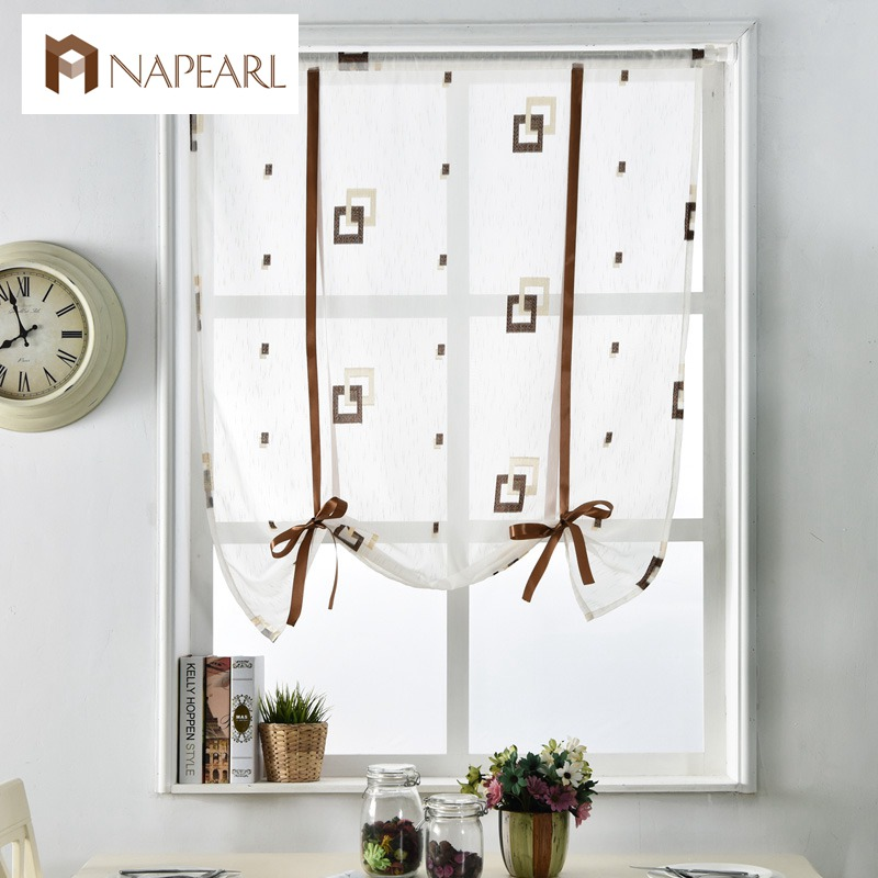 Short Modern Curtains Kitchen Door Roman Blinds White