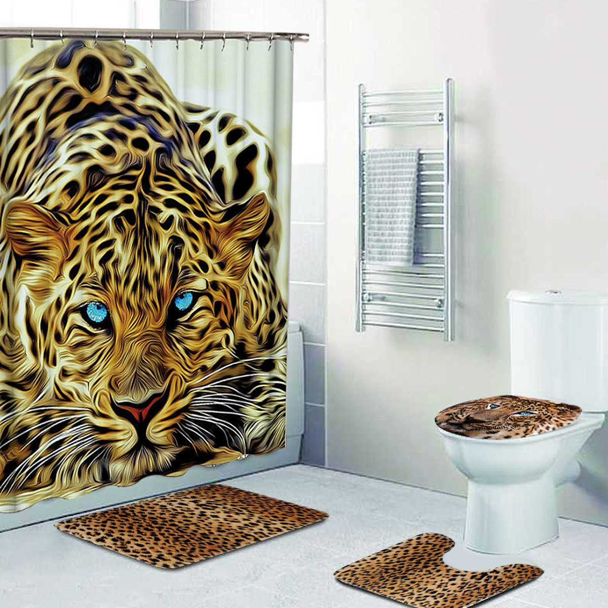 4Pcs Pattern Leopard Bathroom Mat + Shower Curtain w/12xHooks Pedestal Toilet Seat Mat+Lid+Bath Mat Non Slip Floor Decor Carpet