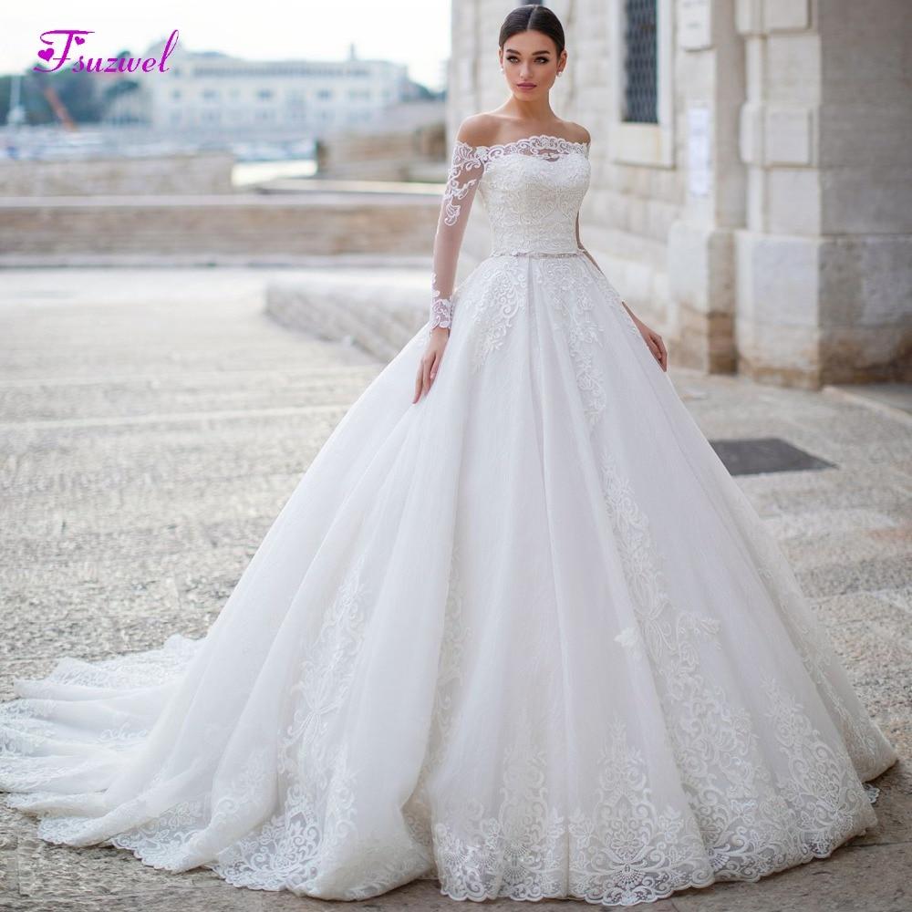 Fsuzwel Gorgeous Appliques Long Sleeve Boat Neck A Line Wedding Dress 2019 Luxury Sashes Beaded Princess