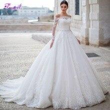 Fsuzwel Gorgeous Appliques Long Sleeve Boat Neck A Line Wedding Dress 2020 Luxury Sashes Beaded Princess Wedding Gowns Plus Size