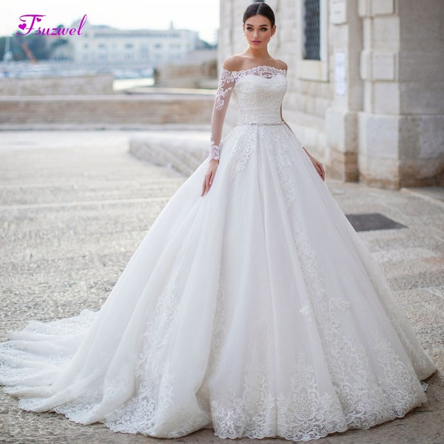 Fsuzwel Gorgeous Appliques Long Sleeve Boat Neck A Line Wedding Dress 2020 Luxury Sashes Beaded Princess Wedding Gowns Plus Size