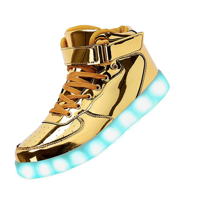 separation shoes c4392 27d63 Unisex LED Running Shoes Women Men AF1 High Top Sneakers Flashing Luminous  Shoes USB Charging Light Up Dancing Shoes