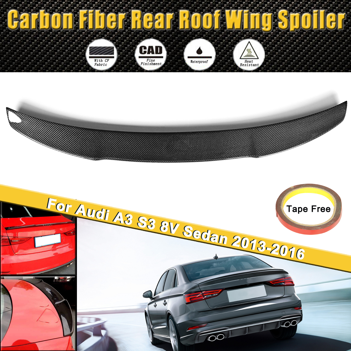 Full Real Carbon Fiber Auto Rear Trunk Lip Roof Wing Spoiler Fit For Audi A3 S3 8V Sedan 2013 2016