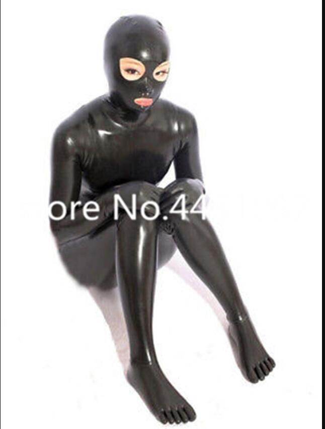 Full Cover Latex Catsuit Bodysuits With Hood, Gloves And Toe Socks Latex Rubber Full Bodysuits Black Zip