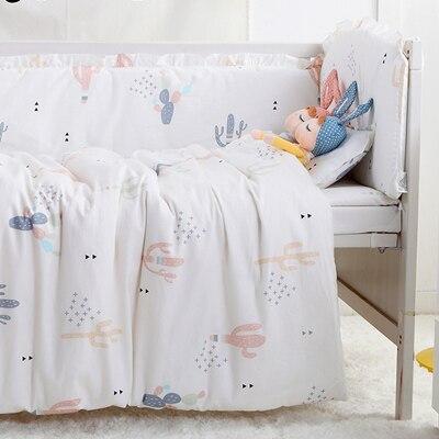 7PCS Cotton Baby Bedding Set Newborn Infant Crib Bedding Protetor De Berco For Room Decoration,(4bumpers+sheet+pillow+duvet)