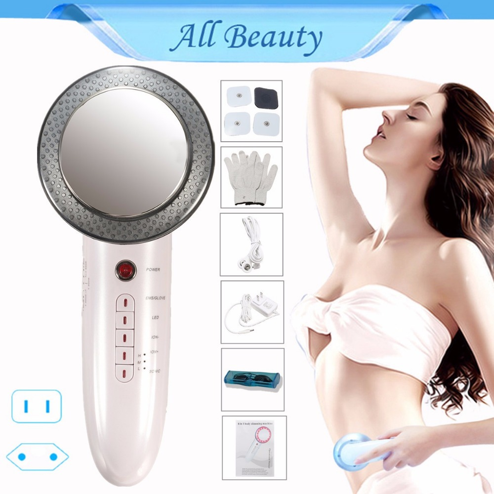 все цены на 6in1 Ultrasonic Fat Burner 1Mhz Ultrasound Body Slimming Cellulite Machine Facial Massager Face Photon EMS Galvanic Skin Care