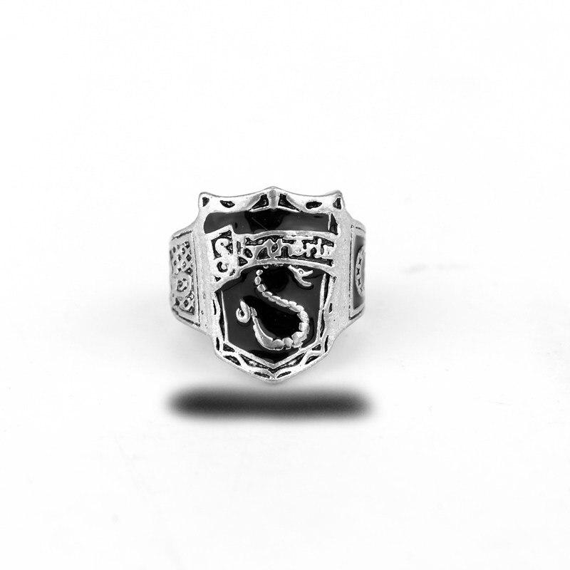 MQCHUN Hogwarts Slytherin House Crest Ring Black Horcrux Draco Voldemort Harry