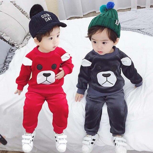 4ad0560b4 BINIDUCKLING 2018 Otoño Invierno niños ropa niño Niños Niñas Ropa gruesa  caliente del terciopelo del oro