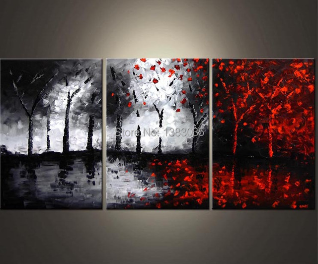 Tangan dinding dicat minyak seni abstrak hitam putih dan merah lukisan 3 piece modern pohon kanvas