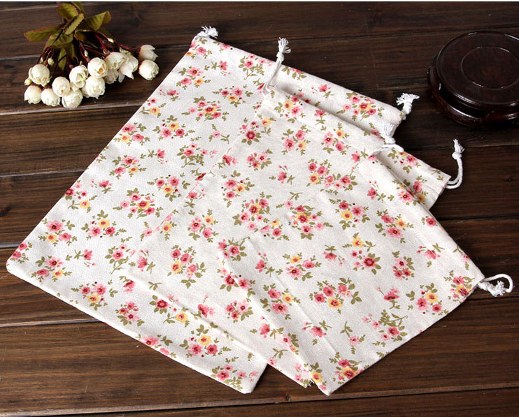 Cotton Linen Jewelry Gift Pouch 8x10cm 9x12cm 10x15cm 13x17cm pack of 50 Flower Sachets Wedding Party Candy Jute Bag Sack