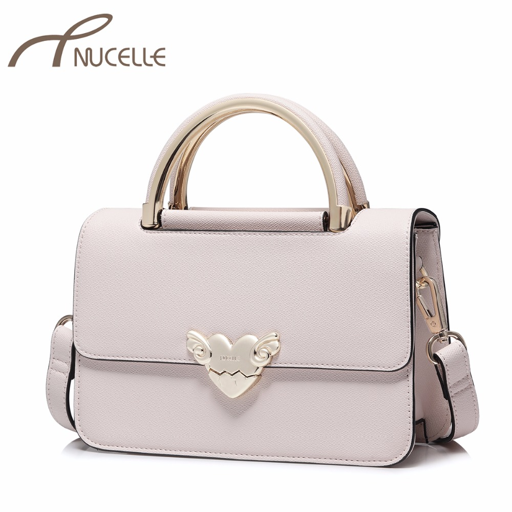NUCELLE Women's PU Leather Handbag Ladies Fashion Brief Sweet Love Lock Tote Shoulder Purse Female Flap All-match Messenger Bags