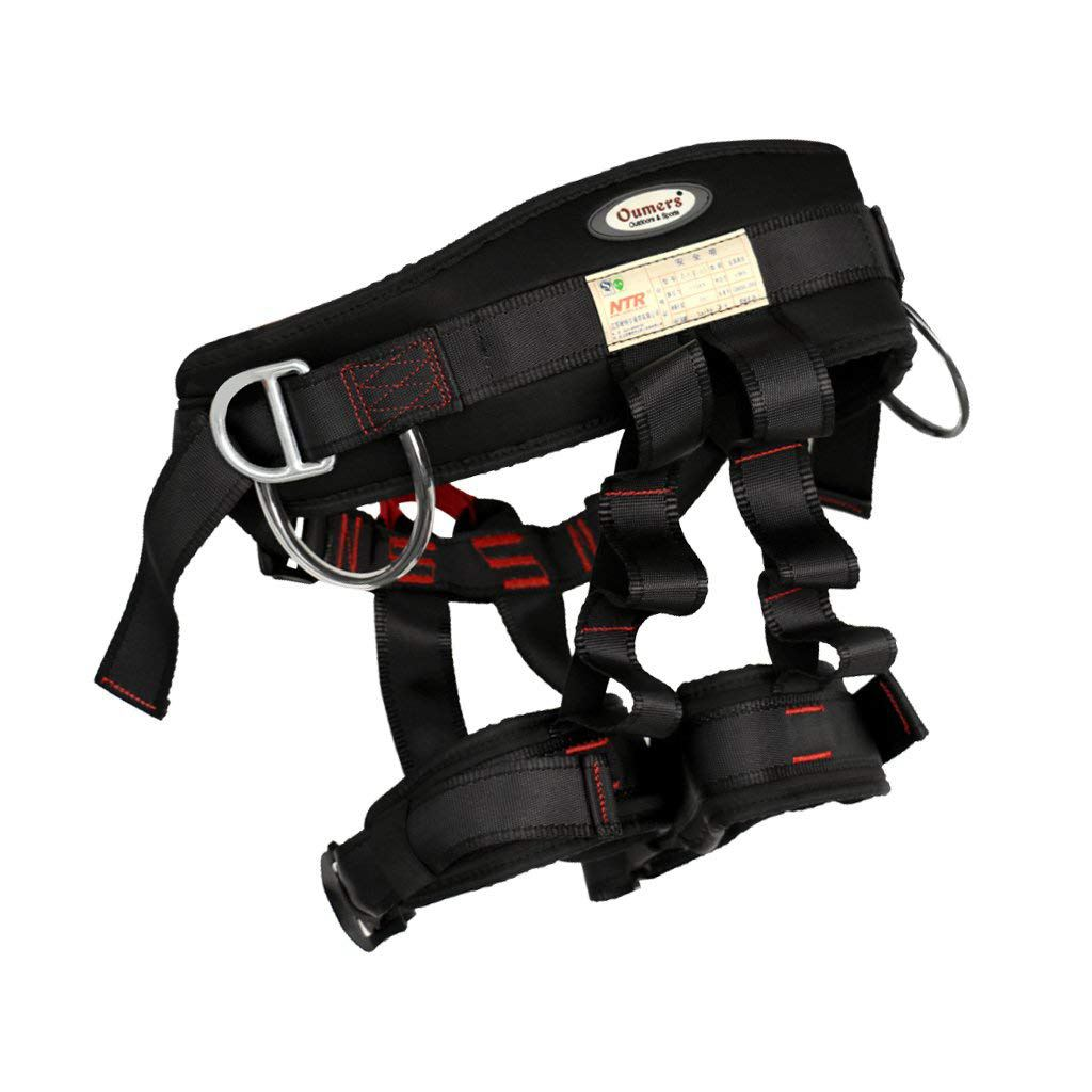 NTR 22kN Black Adjustable Harness Security Seat Belt Climbing Rappelling Harness