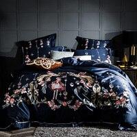 2018 роскошный набор постельного белья с вышивкой, набор постельного белья королевского размера, постельное белье, темно синий пододеяльник,