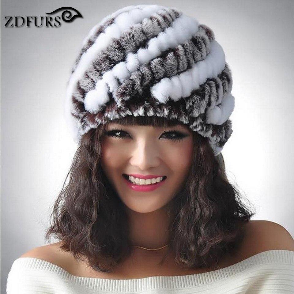 ZDFURS * Autumn Winter Women's Genuine Real Knitted Rex Rabbit Fur Hats Handmade Lady Warm Caps Female Beanies ZDH-161001