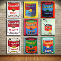 Andy Warhol 9 PCS Set Campbell S Soup Can Beef Oil Painting Prints Painting On Canvas