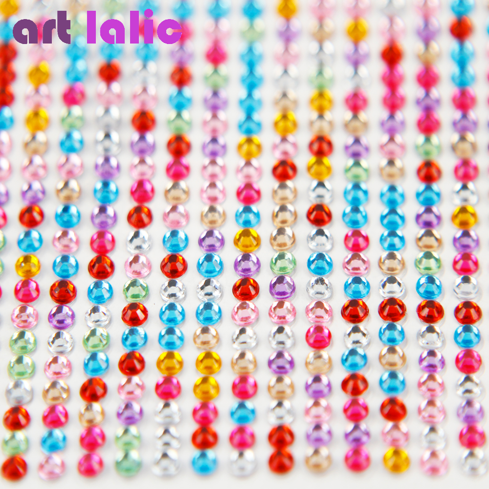 990 Pcs 4mm Rhinestones Self Adhesive Diamantes Stick On Crystals Beads Nail Art Car ASSORTED COLOR salonperfect 45 salonperfect press on self adhesive lash 52141 1