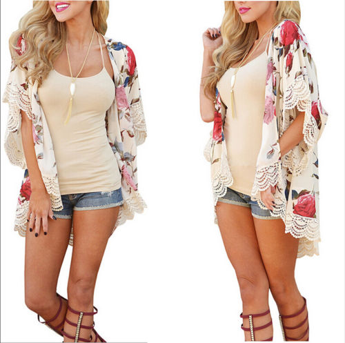 New 2018 Summer Women Floral Loose Shawl Kimono Cardigan Tops Boho Chiffon Lace Patchwork Short Sleeve Loose Blouse