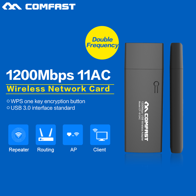 1200 mb de banda dual mini pc adaptador wi fi 2.4g + 5 ghz comfast 802.11 ac USB