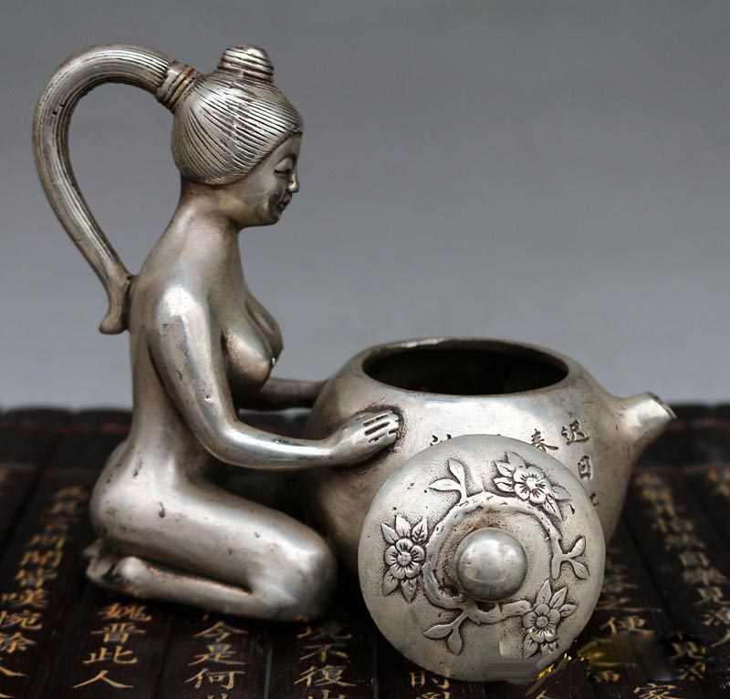 6Chinese Silver Sexy Nude Beauty Wine Teapot Flagon Bottle Kettle Flask teaPot6Chinese Silver Sexy Nude Beauty Wine Teapot Flagon Bottle Kettle Flask teaPot