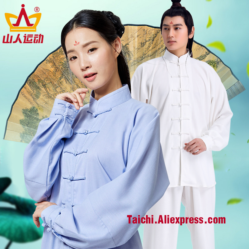 New Elastic Cotton and linen Male & Female Handmade Linen Tai Chi Uniform Wushu, Kung Fu,martial art Suit  Chinese Stlye painted handmade linen tai chi uniform taijiquan female clothing summer short sleeved wushu kung fu jacket pants