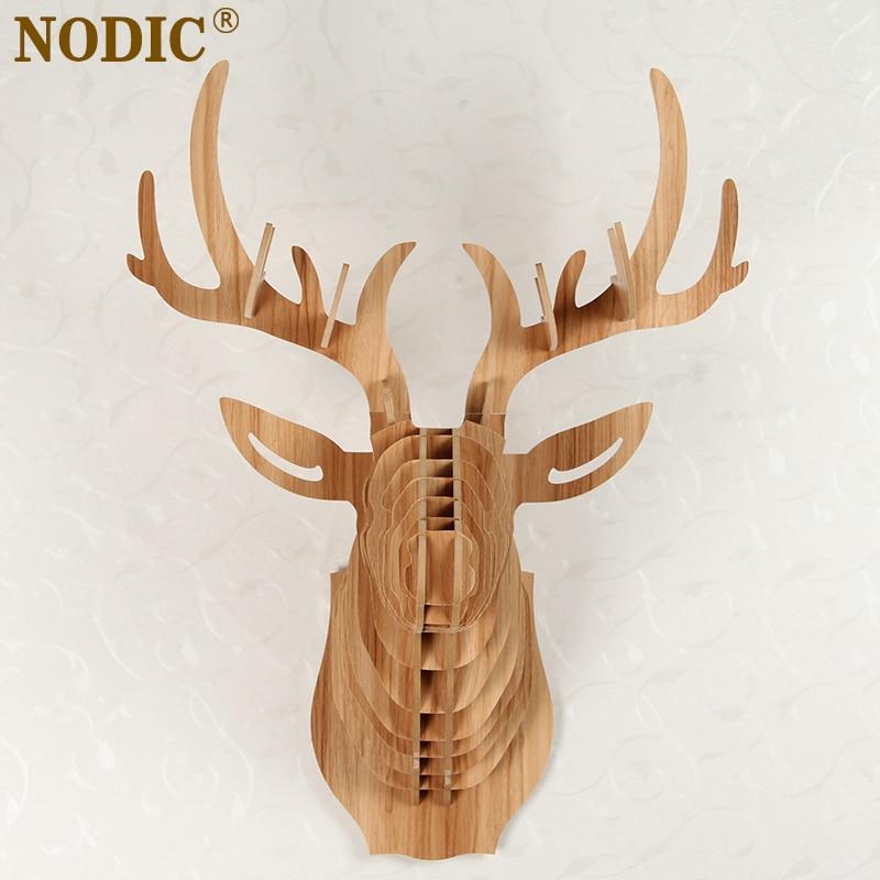 Nodichome Decorationdeer Head Of Wooden Craftsanimal Head Wall