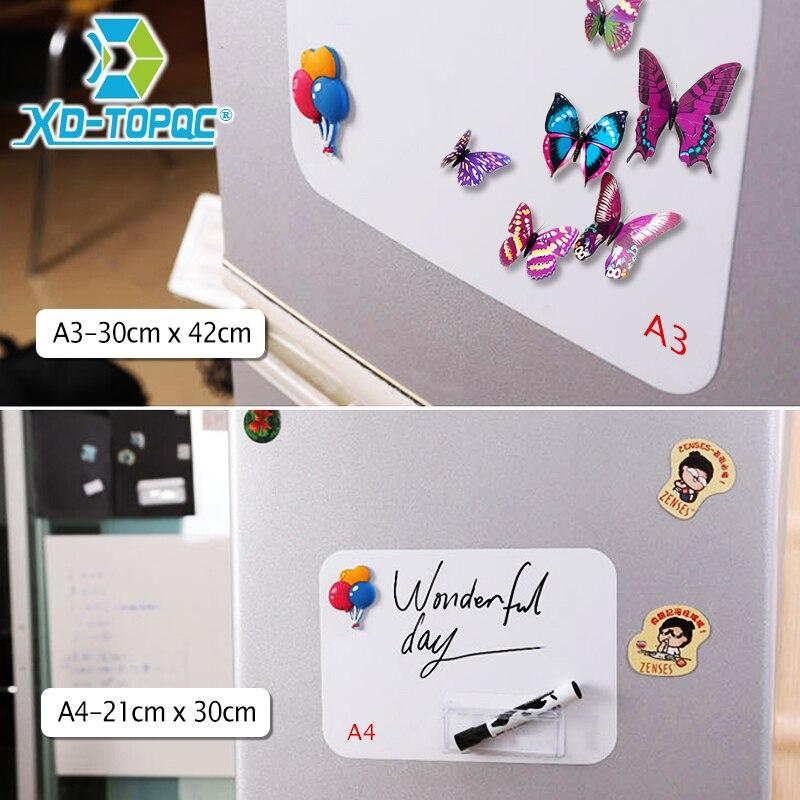 XINDI Flessibile Mini Lavagna Message Board Frigorifero Memo Pad Note Magnetici Magneti Frigo Morbido Bianco Commissioni Adesivi FM03