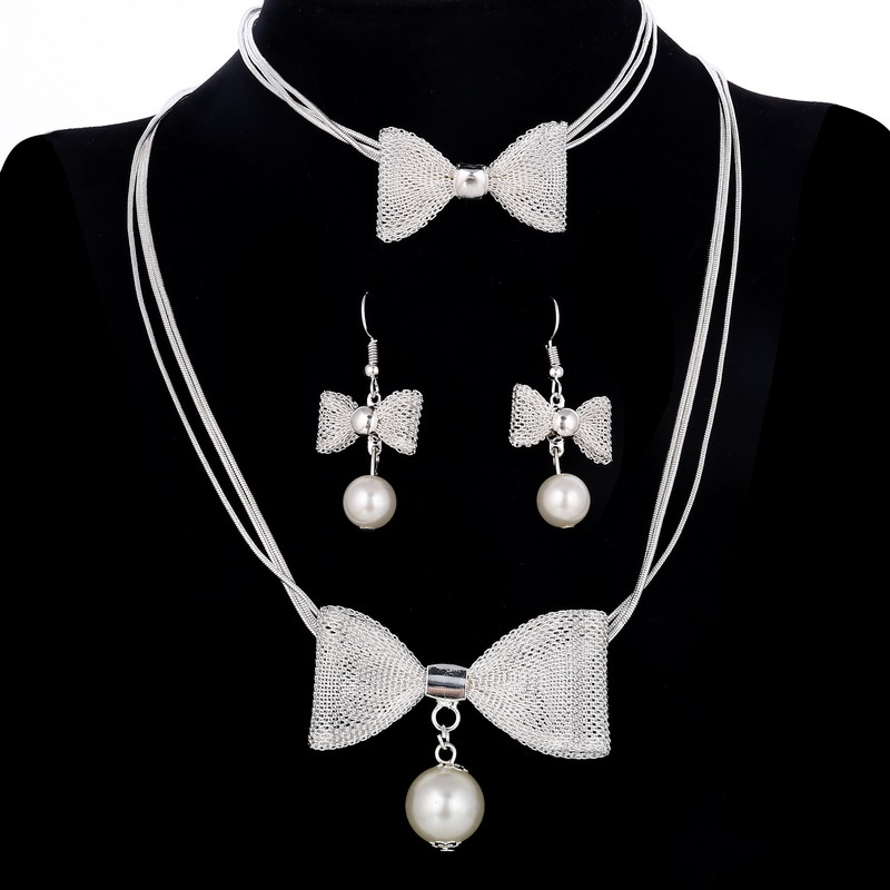 Long Bow Simulated Pearl Necklace Bracelets Earrings Set Romantic