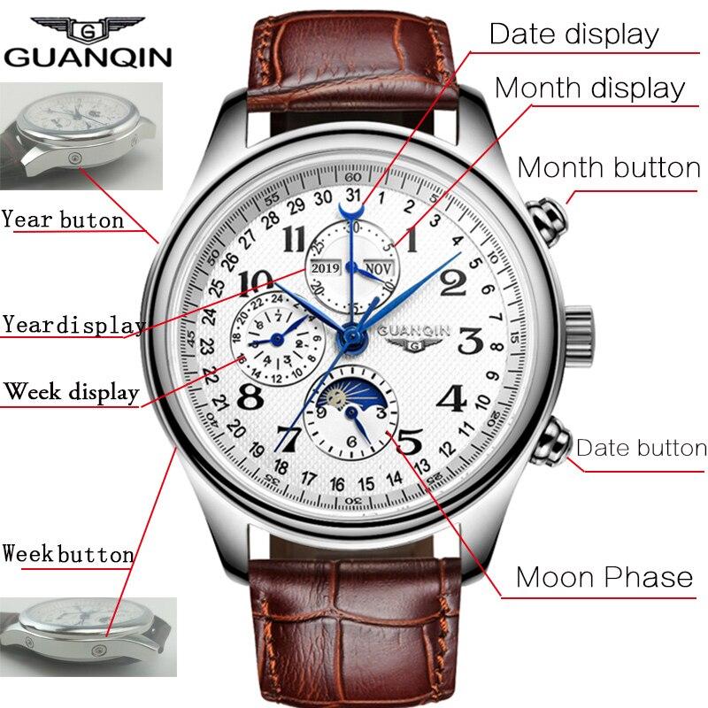 HTB1ccIcatfvK1RjSspfq6zzXFXa3 GUANQIN Automatic Mechanical Men Watches Top Brand Luxury Waterproof date Calendar Moon Leather Wristwatch Relogio Masculino A