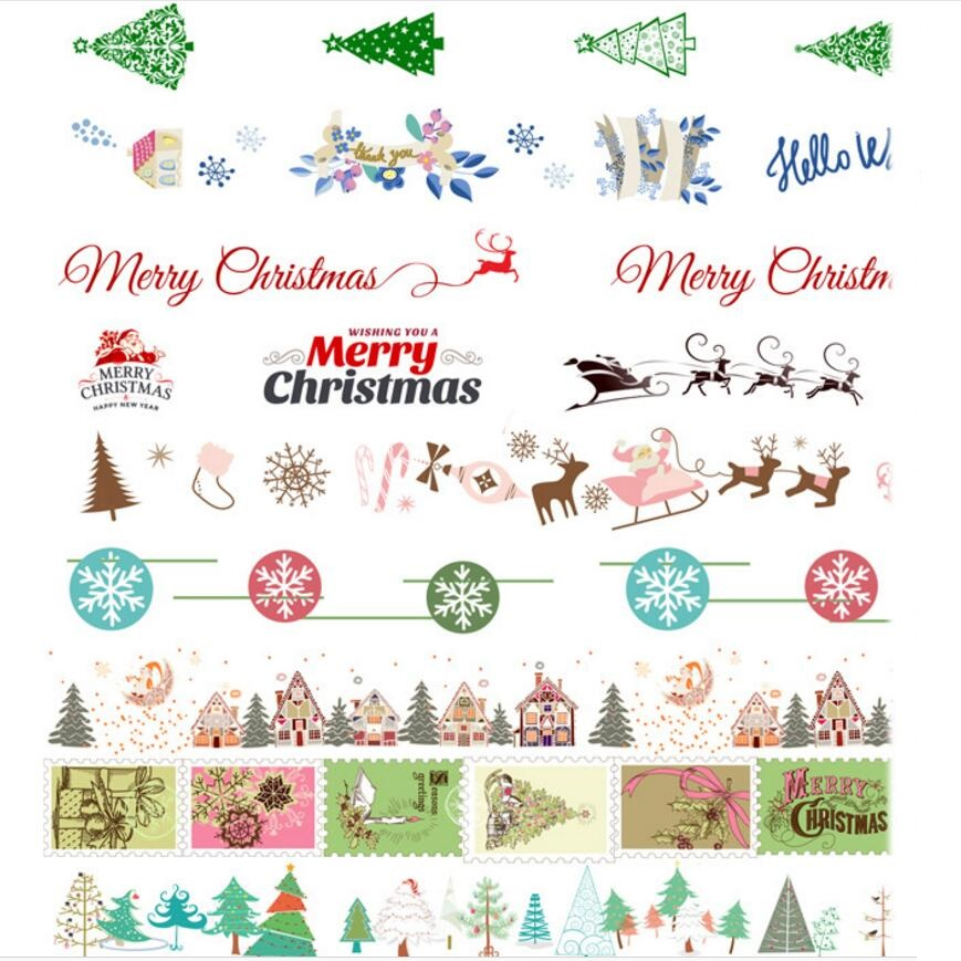Washi Tape Set of 20pcs, Snowflake Bow Reindeer Jingle Bells Party & gifting, Scrapbooking Masking Tape Merry Christmas sticker new design retro style ship car travel old style vintage diy decorative washi tape diary deco masking tape scrapbooking stickers
