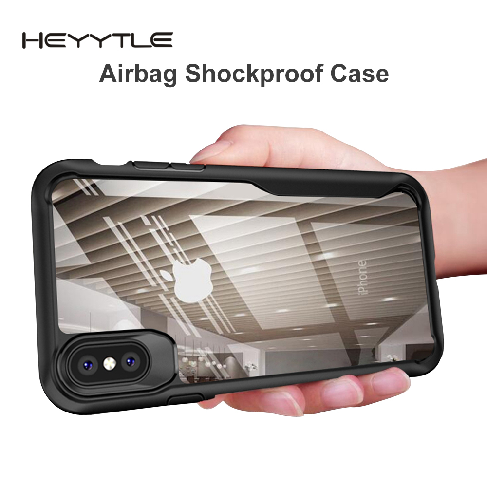 Heyytle Shockproof Armor Case For iPhone 7 8 Plus 6 6s Transparent Cover For iPhone X XS MAX XR Soft TPU Cases Drop proof Coque-in Fitted Cases from Cellphones & Telecommunications