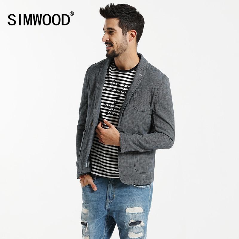 SIMWOOD 2019 Autumn  Casual Blazers Men Plaid Suits  Fashion Coats Pocket Single Button 100% Pure Cotton  Slim Fit XZ6123