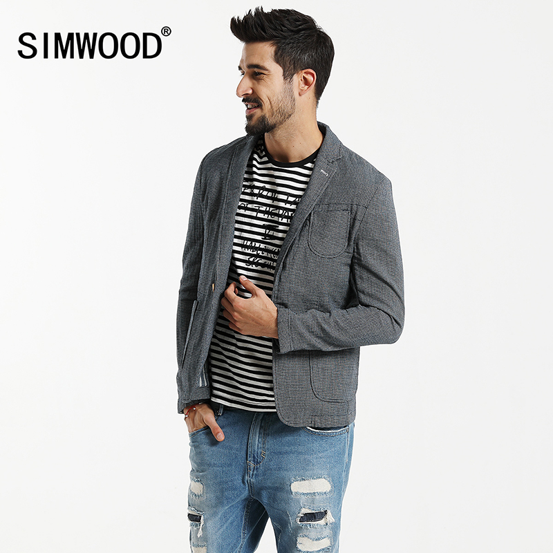 SIMWOOD 2020 Spring  Casual Blazers Men Plaid Suits  Fashion Coats Pocket Single Button 100% Pure Cotton  Slim Fit XZ6123