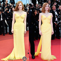 Jessica Chastain  2016 Cannes Festive Yellow Celebrity Dresses Sheath Sweetheart Sashes Chiffon Long Backless Red Carpet Dresses