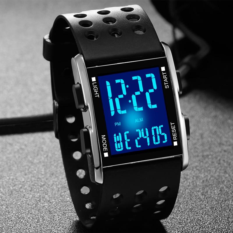 Чоловіки під керівництвом наручні годинники водонепроникний електронні спортивні годинники повсякденна мода цифрова годинник працює подарунковій коробці Reloj Hombre Feminino годин