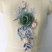 1/4 Pieces Dress Sewing Beaded Lace Applique Embroidered Floral Lace Motif New Arrival