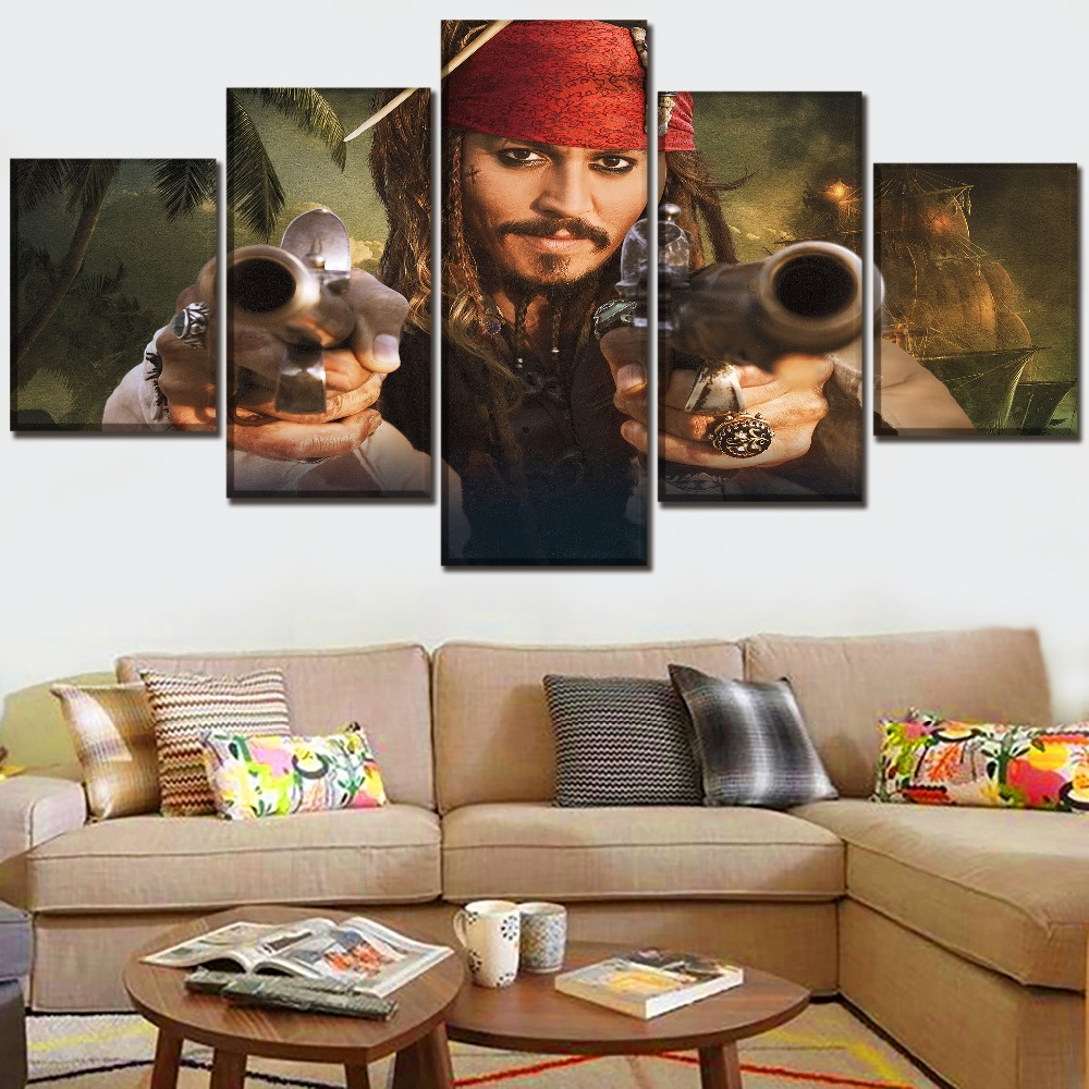 High Quality Canvas Printed Painting Movie Poster 5 Panel Pirates of the Caribbean On Stranger Tides Picture Modern Artwork in Painting Calligraphy from Home Garden