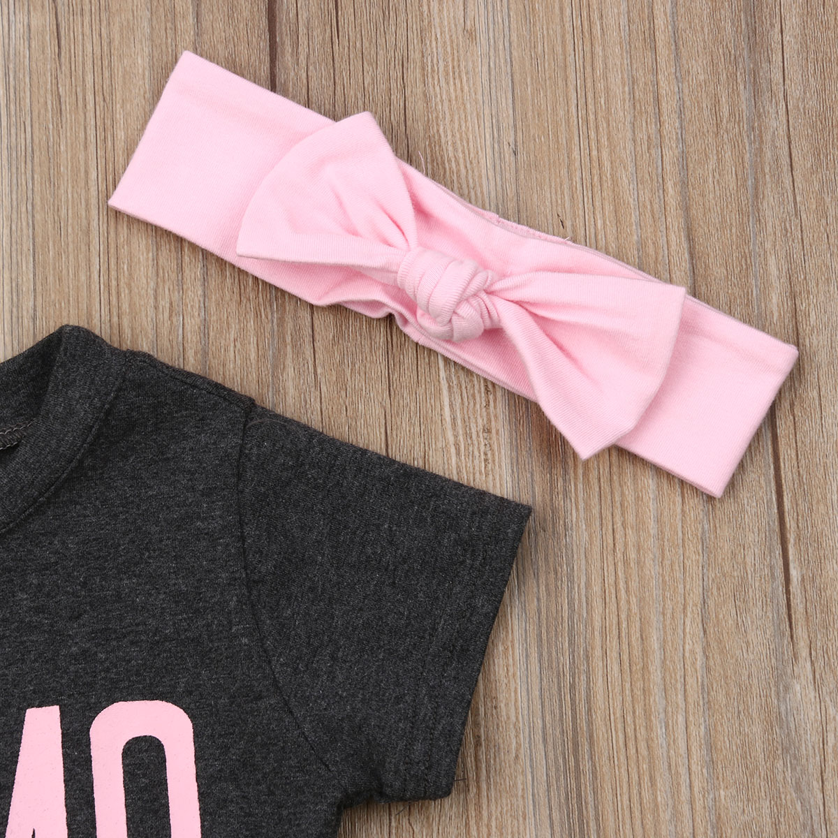 Newborn Toddler Kids Baby Girl Gray Letter T shirt Tops Belted Pink Leaves Short Pants Bowknot Headband 3PCS Outfits Clothes Set in Clothing Sets from Mother Kids