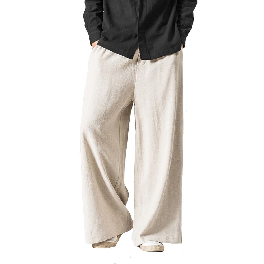 Men/Women Wide Leg Pants Vintage Casual Trouser 2018 Autumn New Cotton Linen Elastic Waist Loose Plus Size Solid Color Pants 5XL