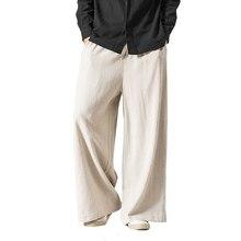 Los hombres de las mujeres pantalones de pierna ancha Vintage Casual pantalones  2018 otoño nuevo algodón de lino elástico en la . e20fbb28d5a
