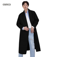 New Male Spring Autumn Long Windbreaker Jacket Mens Fashion Casual Trench Coat Men Long Trench Jacket