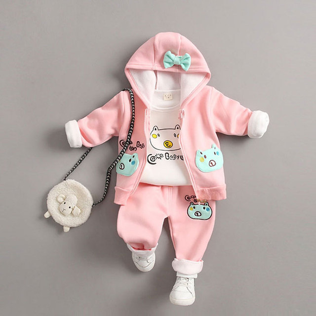 5b15f8e75c1fe Spring Fashion Newborn Baby Girl Set Warm Clothes Infant Outerwear Sport  Suit Hooded Coat+T-shirt+Pant Set Child Kids Clothing