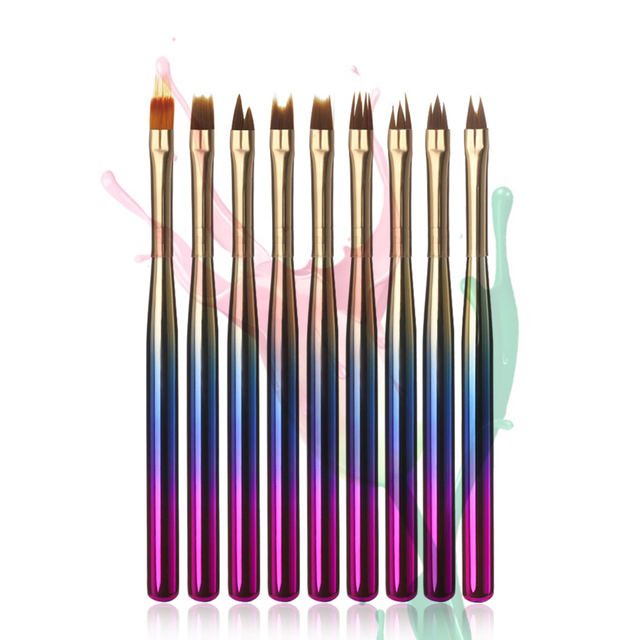 1Pcs DIY Gradient Liner Paint Fan Brush French Painting Pen UV Gel Floral Drawing Brush Gradual Handle Nail Art Manicure Pen-in Nail Brushes from ...