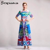 High Quality Colorful 2019 Spring Half Sleeve 3 D Flower Printed Runway Designer Maxi Women Dress Floral Blue Long Party Dresses