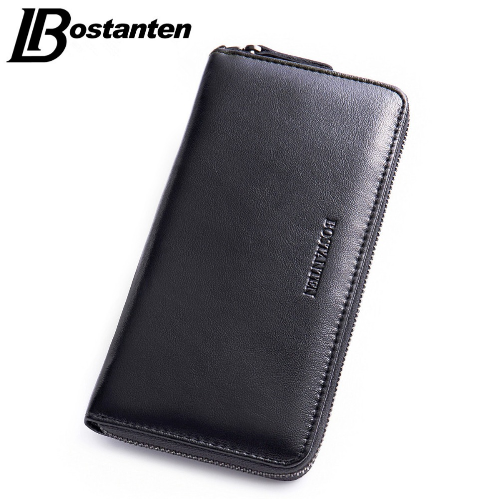 BOSTANTEN PU Leather Men Wallets Business Brand Card holder Coin Purse Men Long Zipper Wallet Leather Clutch Carteira Masculina