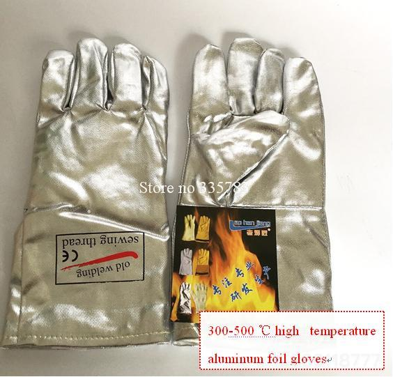 High temperature gloves all Aluminum foil Radiation protection fireproof gloves 300 - 500 degrees Anti-scald protect gloves