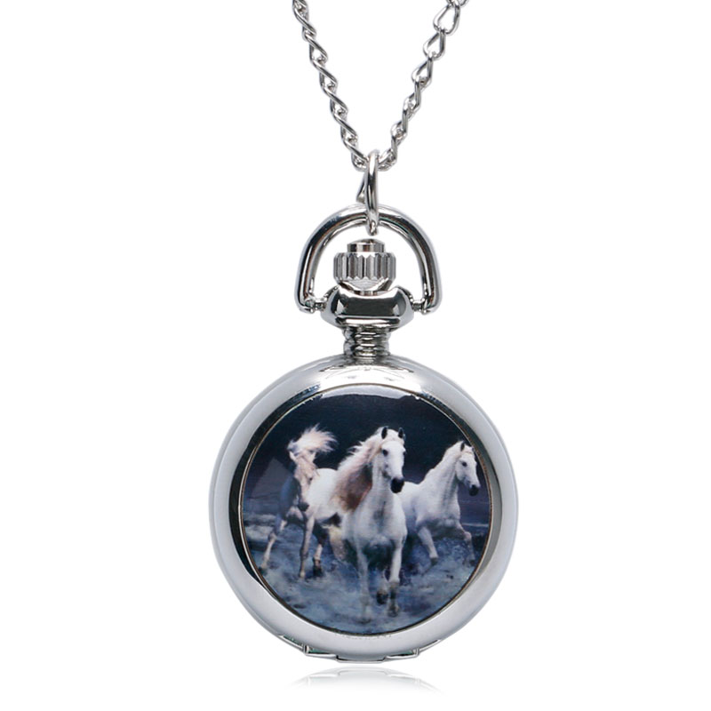 Fashion Retro Silver Enamel Galloping Horses Mini Mirror Pocket Watch Necklaces Relogio De Bolso