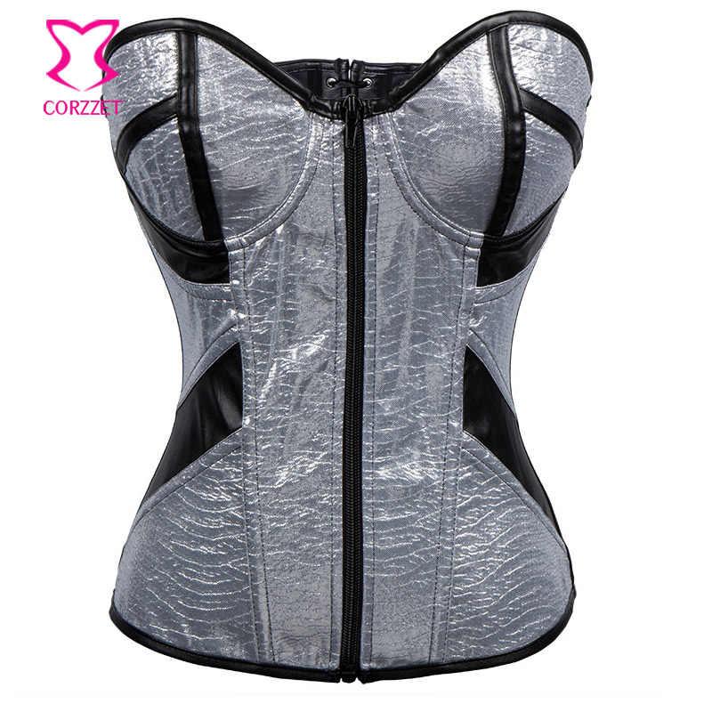 22ed379055675 Silver PVC Black Leather Zipper Overbust Corset Sexy Bustier Gothique Punk  Club Corsage Gothic Espartilhos e