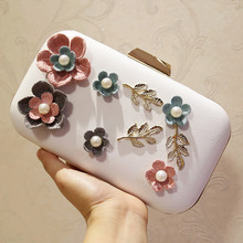 Wool Flower Evening Dress Bags Female Luxury Clutch Chain Ladies Day Clutches White Pink Wedding Bag Purse